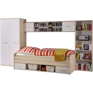 Jugendzimmer Numa 4-teilig weiß - Eiche Sonoma mit Bett + Kleiderschrank + 2 Regalen - Bild 1