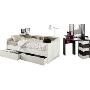Jugendzimmer Sleep Parisot inkl. 2 Bettschubkästen + Eck - Schminktisch weiß - schwarz - Bild 1