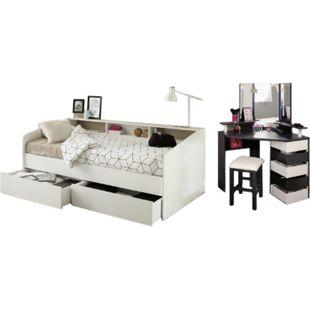 Kinderzimmer Sleep Parisot Bett inkl. Bett + 2 Bettschubkästen + Schminktisch Hocker weiß - schwarz - Bild 1
