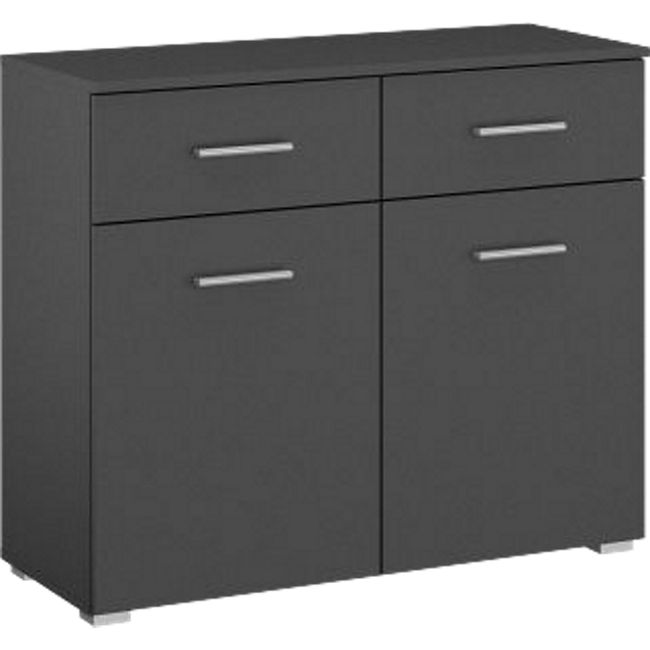 Kommode Hannah mit 2 Türen + 2 Schubladen mit Softclose-Funktion B 93 cm H 81 cm grau - Bild 1