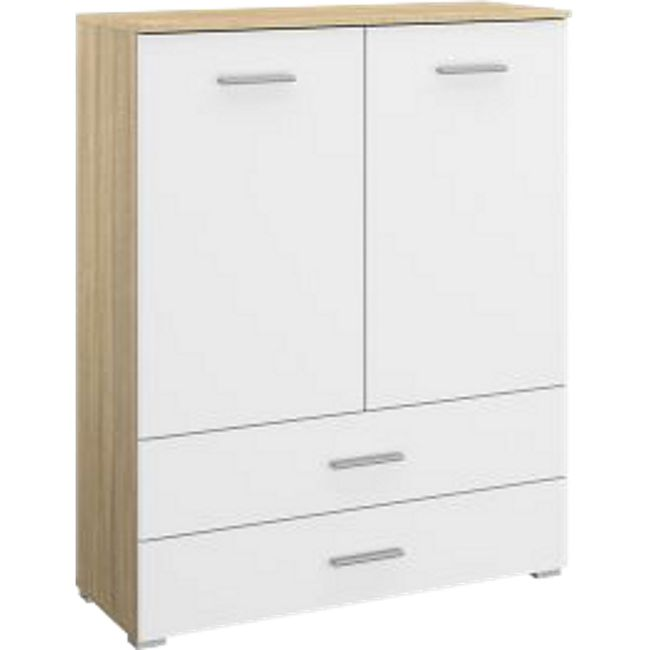 Kommode Hannah 2 Türen + 2 Schubladen mit Softclose-Funktion B 93 cm H 119 cm eiche sonoma / weiß - Bild 1