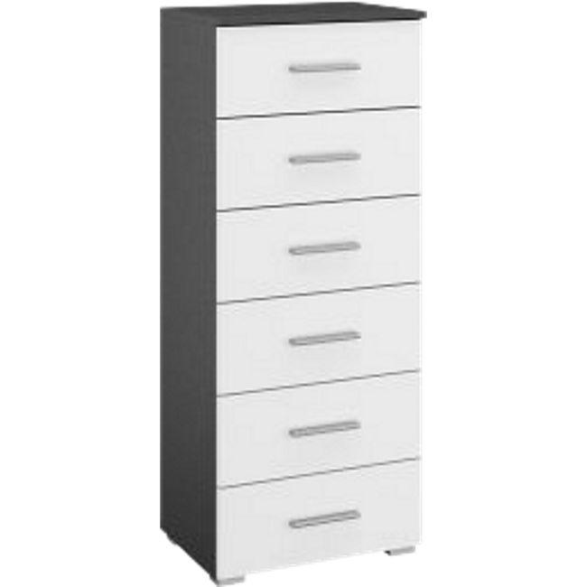 Kommode Hannah mit 6 Schubladen mit Softclose-Funktion B 47 cm H 119 cm grau / weiß - Bild 1