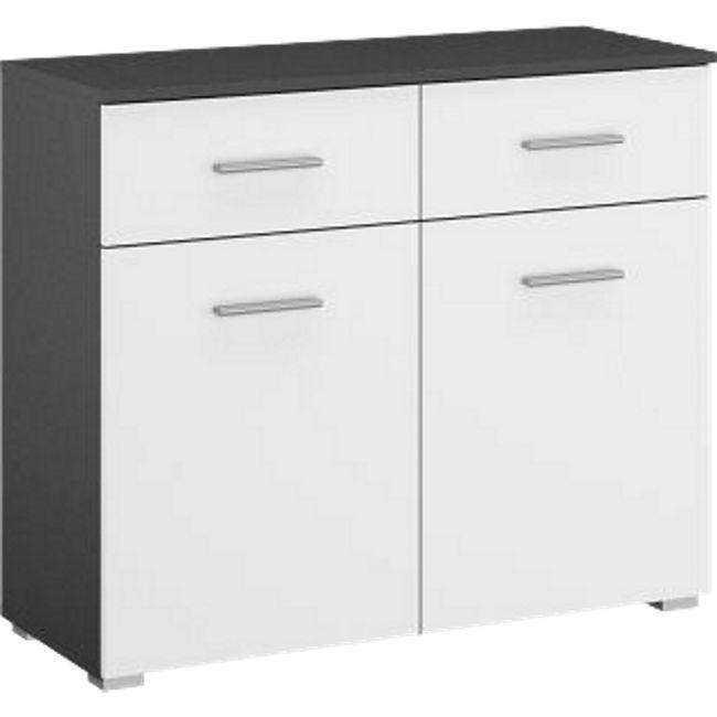 Kommode Hannah mit 2 Türen + 2 Schubladen mit Softclose-Funktion B 93 cm H 81 grau-metallic / weiß - Bild 1