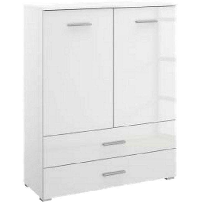 Kommode Hannah weiß hochglanz 2 Türen + 2 Schubladen B 93 cm H 119 cm - Bild 1