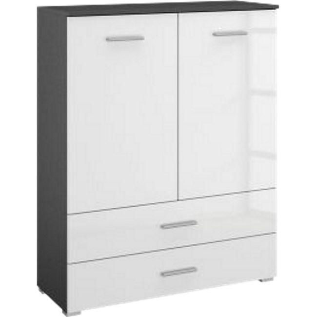 Kommode Hannah hochglanz grau / weiß 2 Türen + 2 Schubladen B 93 cm  H 119 cm - Bild 1