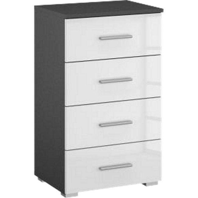 Kommode Hannah hochglanz grau / weiß mit 4 Schubladen mit Softclose-Funktion B 47 cm H 81 cm - Bild 1