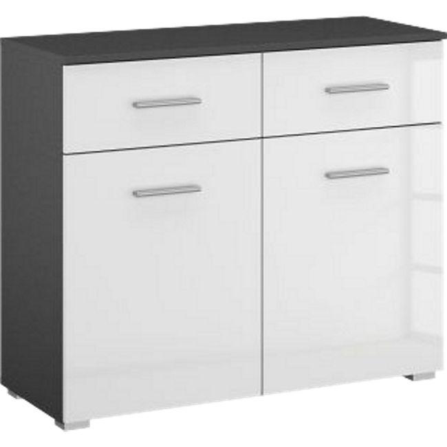 Kommode Hannah hochglanz grau / weiß 2 Türen + 2 Schubladen mit Softclose-Funktion B 93 cm H 81 cm - Bild 1