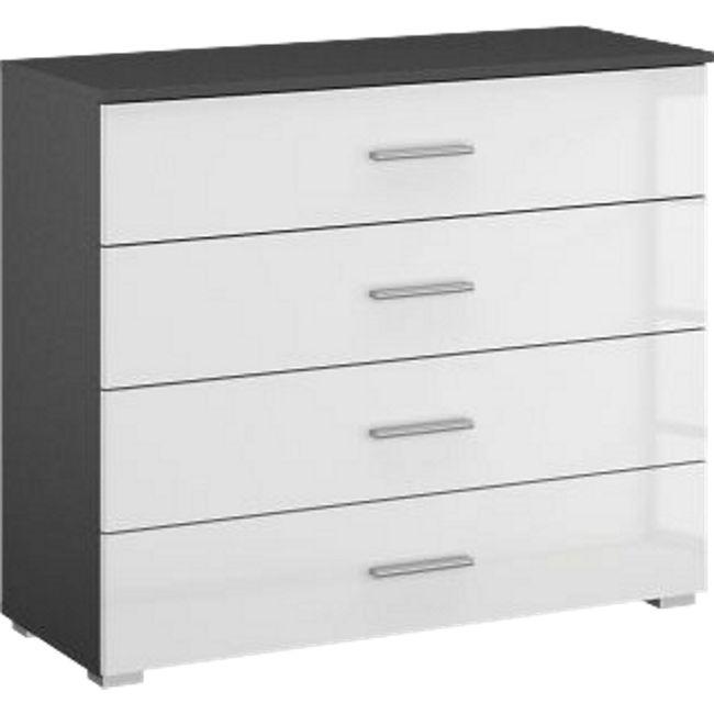 Kommode Hannah hochglanz grau / weiß 4 Schubladen B 96 cm H 81 cm - Bild 1