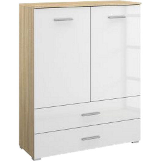 Kommode Hannah hochglanz braun / weiß 2 Türen + 2 Schubladen B 93 cm H 119 cm - Bild 1