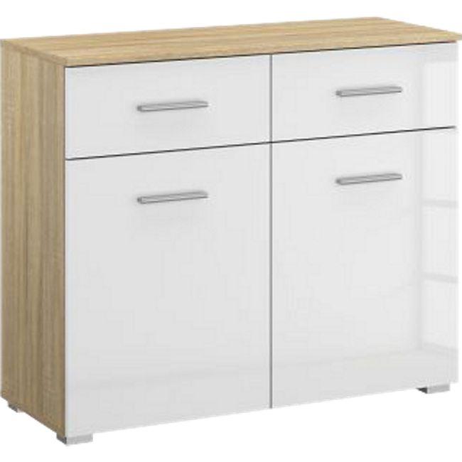 Kommode Hannah hochglanz weiß / braun 2 Türen + 2 Schubladen mit Softclose-Funktion B 93 cm H 81 cm - Bild 1