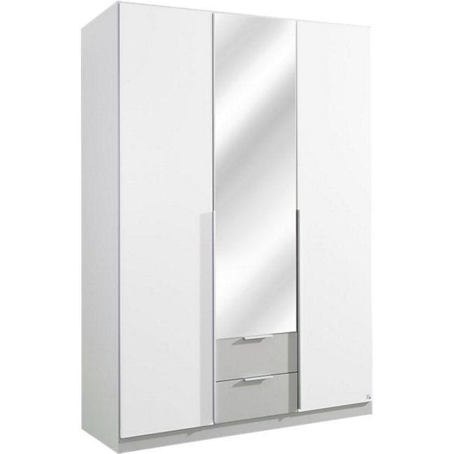 Kleiderschrank Bela weiß - grau 3 Türen B 136 cm - H 197 cm - Bild 1