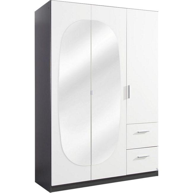 Kleiderschrank Jan 3-trg weiß / grau B 136 cm / H 197 cm / T 54 cm - Bild 1