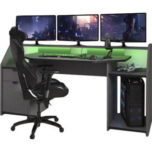 Schreibtisch Gamer Set up 180 x 90 cm ABS-Kante LED Beleuchtung Parisot grau / schwarz - Bild 1