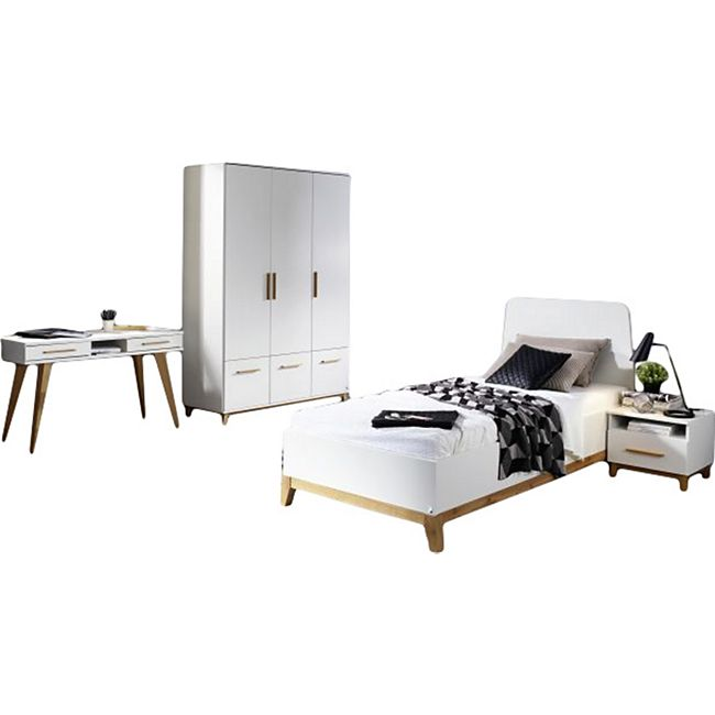 Jugendzimmer Emilia 4-teilig weiß Schreibtisch + Bett + Nachtkommode + Kleiderschrank - Bild 1