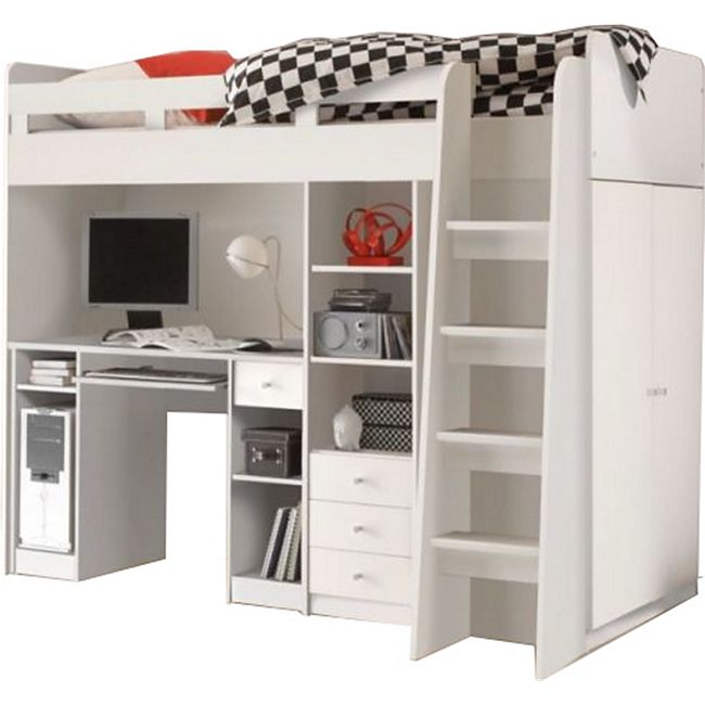 Hochbett Enri 90*200 cm inklusive Kleiderschrank, Regal und Schreibtisch weiß - Bild 1