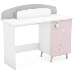 Schreibtisch Sternschnuppe 113 x 50 cm 1x Tür - dahinter 1x Einlegeboden + 1x Box rosa - weiß - Bild 1