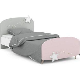 Kinderbett Sternschnuppe mit silbern umrandeten Sternen mit 3D-Effekt 90*200 cm rosa / weiß / grau - Bild 1