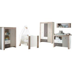 Babyzimmer Bea 5-teilig Babybett + Wickelkommode + Kleiderschrank + Beistellschrank weiß - braun - Bild 1