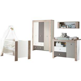 Babyzimmer Bea 4-tlg Babybett + Wickelkommode inkl Wickelauflage + Kleiderschrank + weiß - braun - Bild 1