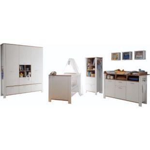 Babyzimmer Adele 5-tlg Babybett Wickelkommode Kleiderschrank Beistellschrank weiß - braun - Bild 1