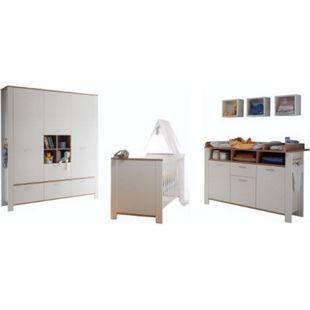 Babyzimmer Adele 4-tlg Babybett Wickelkommode Kleiderschrank Wandregal weiß - braun - Bild 1