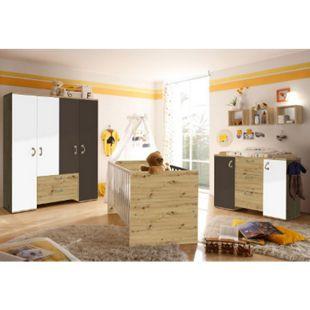 Babyzimmer Cordula 4-tlg Babybett + Wickelkommode inkl Wickelauflage + Kleiderschrank + weiß - braun - Bild 1