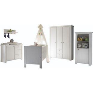 Babyzimmer Dandy 5-tlg Babybett Wickelkommode Kleiderschrank Beistellschrank Wandboard-Regal weiß - Bild 1