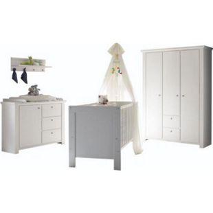 Babyzimmer Dandy 4-tlg Babybett Wickelkommode Kleiderschrank Wandboard-Regal weiß - Bild 1