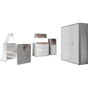 Babyzimmer Frieda 5-tlg Babybett Wickelkommode Kleiderschrank Beistellschrank weiß - grau - Bild 1