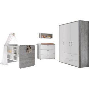 Babyzimmer Frieda 4-tlg Babybett Wickelkommode Kleiderschrank Wandregal weiß - grau - Bild 1