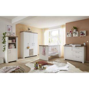 Babyzimmer New York 5-tlg Babybett Wickelkommode Kleiderschrank Beistellschrank 3er Wandregale weiß - Bild 1