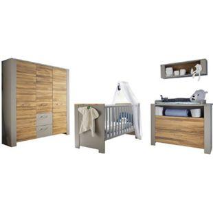 Babyzimmer Tokio 4-tlg Babybett Wickelkommode Kleiderschrank Wandregal grau - braun - Bild 1