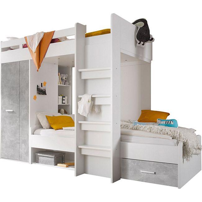 Etagenbett Nils inklusive Kleiderschrank + Schubkasten + Regale + Lattenrostplatte weiß - Beton - Bild 1