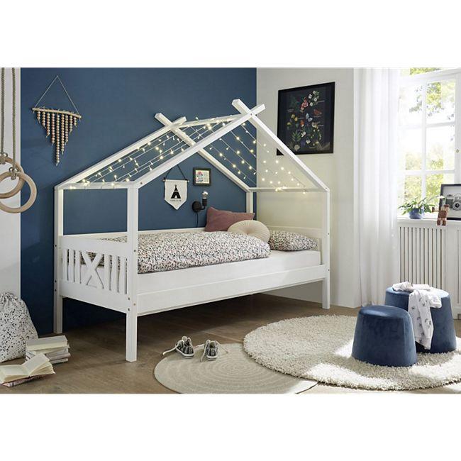Hausbett Leonie mit Dach - Himmelvorrichtung 90*200 cm Kiefer massiv weiß... Bett ohne Bettliege/Bettkästen - Bild 1