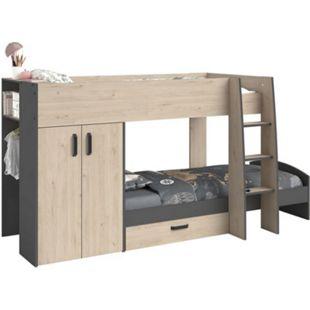 Etagenbett Stim Parisot inkl Kleiderschrank + Bettkasten + Nachttisch + Lattenrostplatten 90*200 - Bild 1