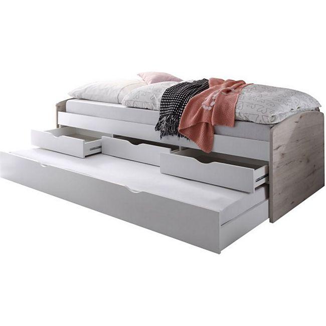 Funktionsbett Clara inkl. ausziehbarer Gästeliege auf 4 Rollen + 3 Schubladen 90*200 cm beige / weiß... Bett - Bild 1