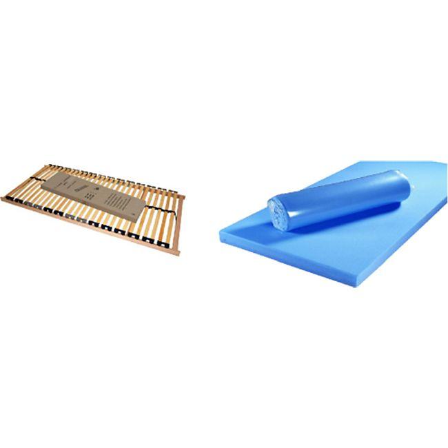 Funktionsbett Clara inkl. ausziehbarer Gästeliege auf 4 Rollen + 3 Schubladen 90*200 cm weiß... Bett + Lattenrost + Matratze (blau) - Bild 1