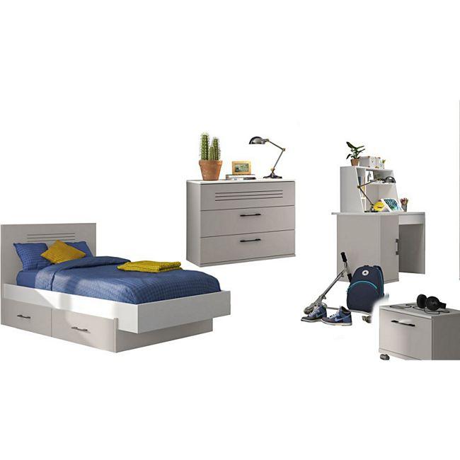 Gami Jugendzimmer Set Ugo 9/39 6-tlg weiß / grau– Bett 90/120 x 200 cm ABS-Kanten... Liegefläche 90*200 cm - Bild 1