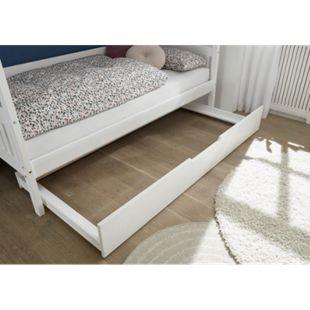 Hausbett Leonie mit Dach - Himmelvorrichtung 90*200 cm Kiefer massiv weiß... ausziehbare Bettliege - Bild 1
