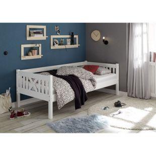 Pfostenbett Trevi 90*200 cm Kiefer massiv weiß... Bett ohne Bettliege/Bettkästen, ohne Matratze & Lattenrost - Bild 1