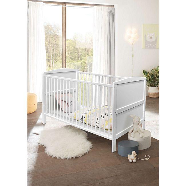 Babybett Maiken inkl. Lattenrahmen + 3 Schlupfsprossen + Umbauseiten Kiefer massiv weiß - Bild 1