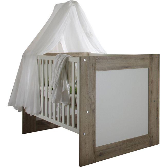 Babybett Lupo inkl. Lattenrahmen + 3 Schlupfsprossen MDF Holz 70x140 cm weiß - braun - Bild 1