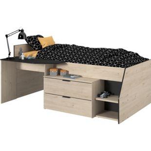 Hochbett Milky Parisot braun - schwarz inkl. Schreibplatte + Kommode + Ablagefach - Bild 1