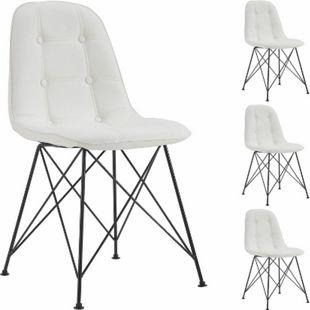 IDIMEX Esszimmerstuhl IMRAN im 4er Set mit Kunstlederbezug in grau - Bild 1