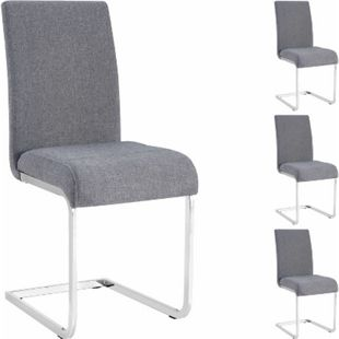 IDIMEX Schwingstuhl LETICIA mit Stoffbezug in grau, 4er Pack - Bild 1