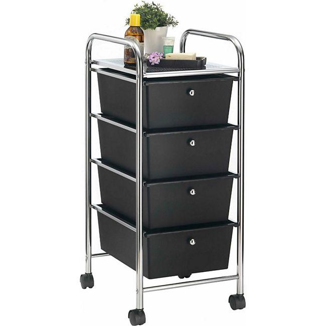 IDIMEX Rollcontainer GINA mit 4 Schubladen in chrom/schwarz - Bild 1