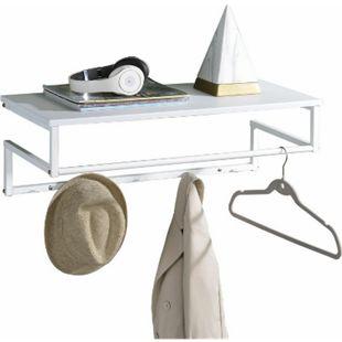 IDIMEX Wandgarderobe MALAK mit 5 Kleiderhaken und 1 Kleiderstange in weiß - Bild 1