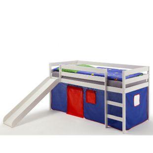 IDIMEX Spielbett BENNY in weiß, Vorhang blau - Bild 1