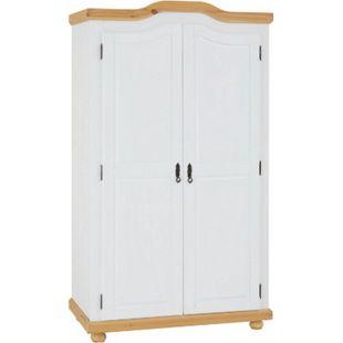 IDIMEX Garderobenschrank MÜNCHEN mit 2 Türen, Kiefer weiß/braun - Bild 1