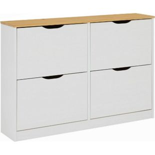 IDIMEX Schuhschrank BASIL in taupe mit 2x2 Kipper weiß/braun BASIL - Bild 1